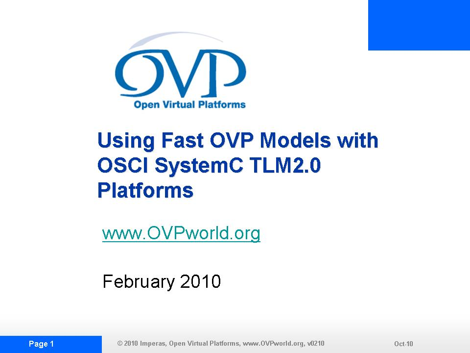 OVP TLM2.0DEMO1 Slide Show